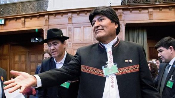 El presidente de Bolivia, Evo Morales, hoy en la sede de la Corte Internacional de Justicia.