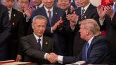 El vicepresidente chino, Liu He, y el presidente estadounidense, Donald Trump.