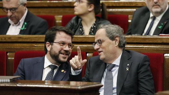 El presidente de la Generalidad, Quim Torra, junto a su vicepresidente, Pere Aragonés, este miércoles.