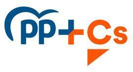 Imagen del logo de la coalición entre el Partido Popular y Ciudadanos, bajo el nombre PP + Cs.