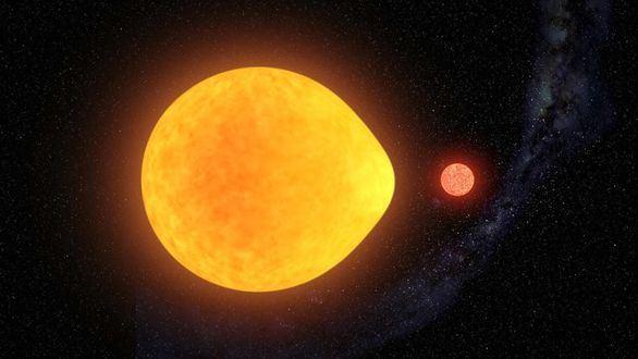 Una estrella binaria con forma de lágrima por efecto de la atracción gravitatoria