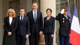Los reyes de España, Felipe y Letizia, junto al presidente de la República Francesa, Emmanuel Macron y su esposa Brigitte Macron.