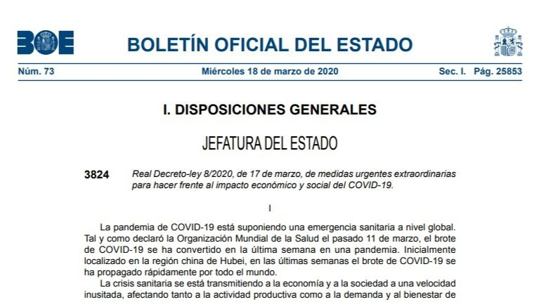 Documento | Las nuevas medidas económicas frente al coronavirus, en el BOE