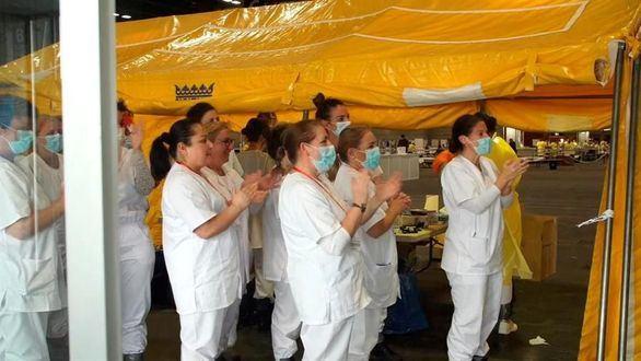 Así fueron los aplausos al primer enfermo dado de alta en Ifema