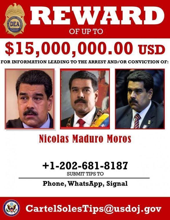 Estados Unidos acusa a Maduro de narcoterrorismo y fija por él una recompensa de 15 millones de dólares