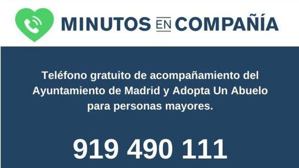 Madrid y la ONG Adopta Un Abuelo lanzan un teléfono para que los mayores hablen con voluntarios