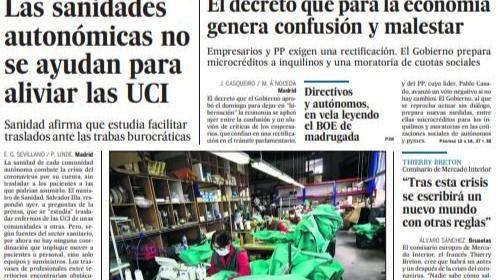 Las portadas y titulares destacados de los periódicos de este martes, 31 de marzo