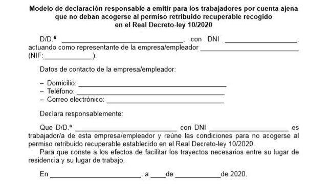 Este es el documento que debes llevar si trabajas en un servicio esencial