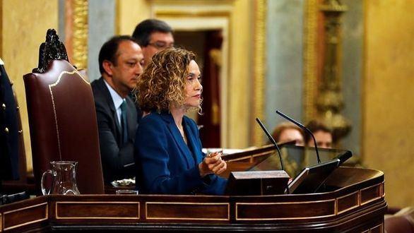La duodécima presidenta del Congreso de los Diputados y la tercera mujer que ocupa este cargo, Meritxell Batet, durante la sesión constitutiva de las nuevas Cortes Generales