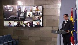 Rueda de prensa telemática por videoconferencias en La Moncloa.