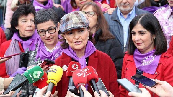 Carmen Calvo en la manifestación del 8M.