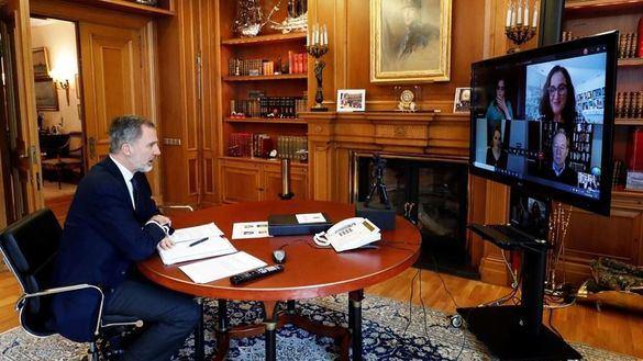 Felipe VI conversa con el presidente mundial de Microsoft sobre la crisis