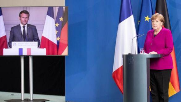 Angela Merkel y Emmanuel Macron.