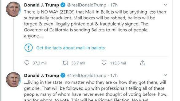 Twitter enfada a Trump por verificar sus tuits: