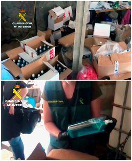 Combo de imágenes que muestra el laboratorio clandestino en el que fabricaban falso gel hidroalcohólico, mezclado con aguardiente y que ha sido desmantelado por la Guardia Civil en una operación en la que han sido detenidas dos personas en la localidad coruñesa de Boiro.