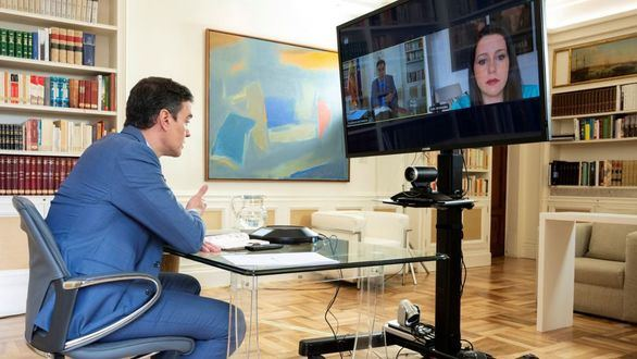 Videconferencia entre Pedro Sánchez e Inés Arrimadas.