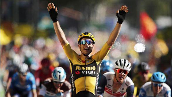 Tour de Francia. Triunfo para Van Aert mientras un abanico sacude a Landa