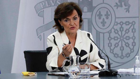 La Vicepresidenta, Ministra de la Presidencia, Relaciones con las Cortes y Memoria Democrática Carmen Calvo.