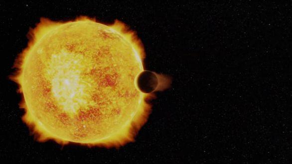 Fotograma de una animación que muestra al Neptuno ultracaliente orbitando alrededor de su estrella.