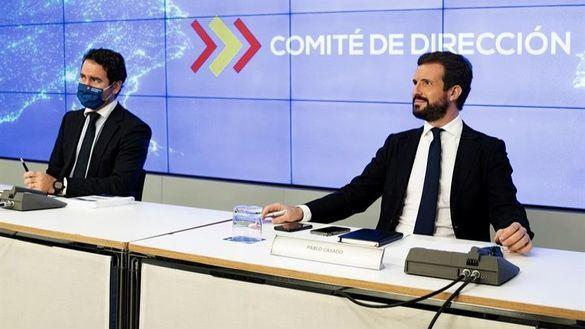 El presidente del PP, Pablo Casado, y el secretario general, Teodoro García Egea.