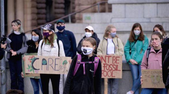 La protesta juvenil en favor del clima de Greta Thunberg elude al Covid-19