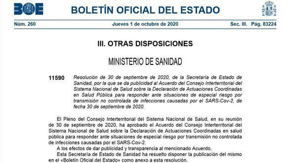 El BOE publica el acuerdo que obliga a Madrid a aplicar nuevas medidas
