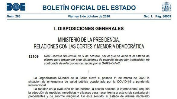 Documento   El BOE publica el decreto del estado de alarma en la Comunidad de Madrid