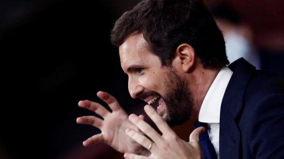 Pablo Casado en un momento de su duro discurso contra Santiago Abascal