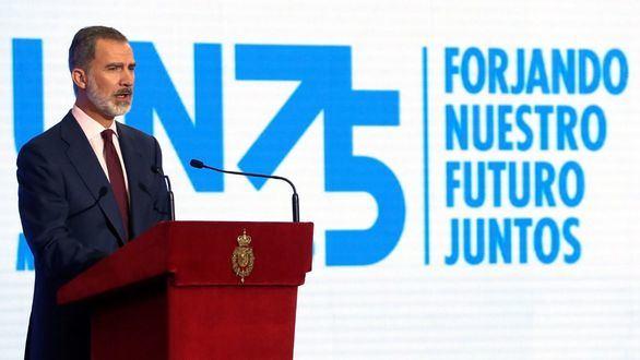 El rey Felipe VI, durante su intervención en las celebraciones del 75 aniversario de la fundación de la ONU.