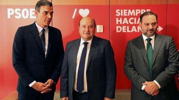 Pedro Sánchez junto al presidente del PNV, Andoni Ortúzar y el ministro de Transportes, José Luis Ábalos.