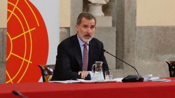 Felipe VI, este lunes durante un acto en el Real Instituto Elcano.