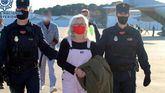 La terrorista Natividad Jáuregui, a su llegada a España, este domingo.