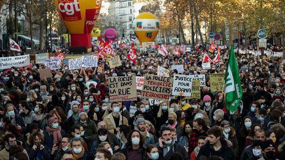 Disturbios en una gran protesta contra la polémica ley de seguridad de Macron