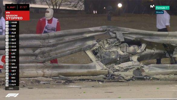 Terrorífico accidente de Grosjean en el Gran Premio de Baréin
