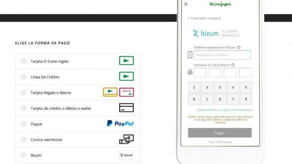 Pagar con Bizum las compras online de El Corte Inglés ya es posible