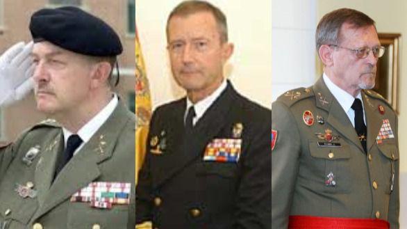 Montaje con las imágenes del teniente general Emilio Pérez Alamán, el almirante José María Treviño y el teniente general Juan Antonio Álvarez Jiménez.