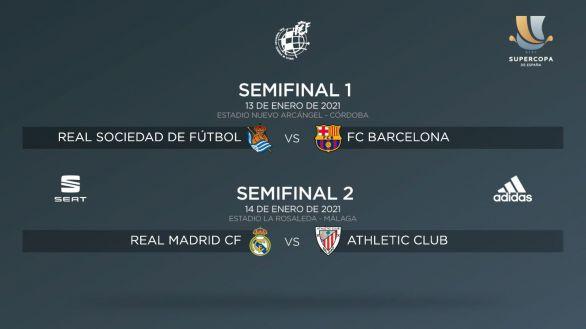 Real Sociedad-Barça y Real Madrid-Athelic, semifinales de la Supercopa