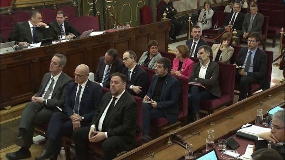 Los presos catalanes durante el juicio del prcés.