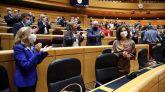 Las ministras de Economía y de Hacienda, Nadia Calviño y María Jesús Montero celebran la aprobación de las cuentas públicas.