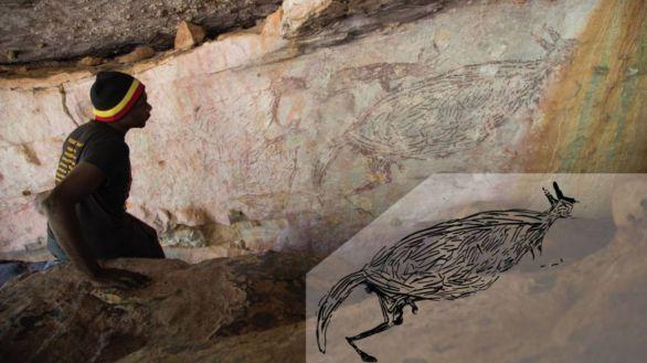 Descubierta la pintura más antigua de Australia: un canguro de dos metros