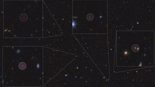 Cúmulo de galaxias en formación estudiado. Los círculos señalan los nuevos miembros descubiertos con el Gran Telescopio Canarias, con cuatro mostrados en detalle.