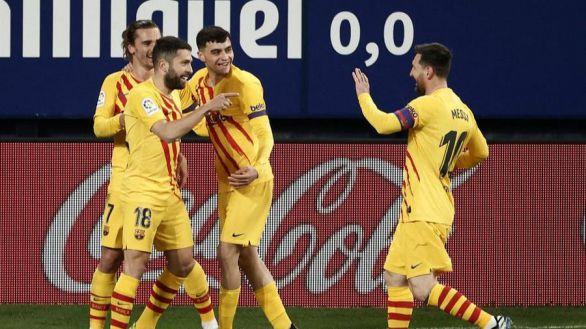 Messi y Ter Stegen impulsan a un gris Barcelona en Pamplona | 0-2