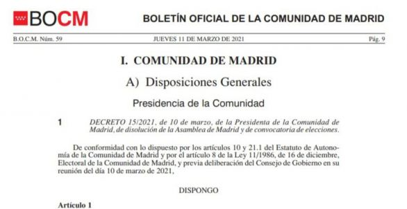 Documento   Decreto de convocatoria de elecciones en Madrid