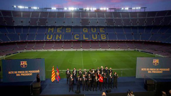 Laporta toma posesión hablando de secesionismo, Messi y el banquillo del Barcelona