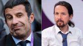 Luis Figo pone la cara colorada a Pablo Iglesias por el fichaje del 'mantero'
