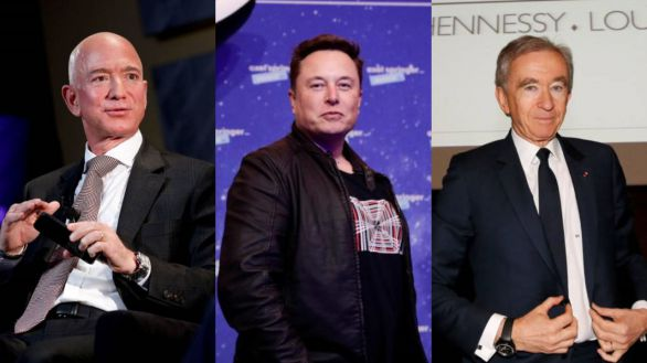 Jeff Bezos, Elon Musk y Bernard Arnault.