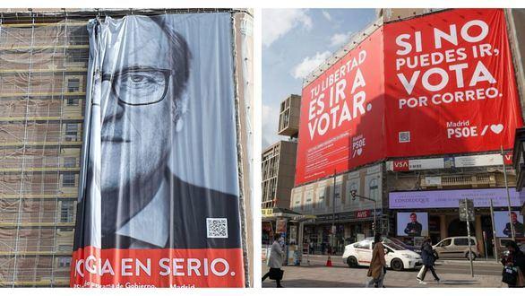 El PSOE imita a Torra: descuelga una pancarta obligado por la Junta Electoral y coloca otra
