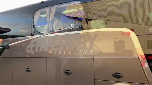 Apedreado el autobús del Real Madrid en su llegada al estadio de Anfield