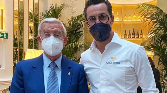 Quique Dacosta con Rafael Ansón en la inauguración del nuevo Hotel Ritz.
