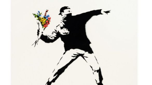 Obra Love is in the air, de Banksy